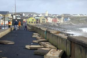 The prom in Lahinch, Co Clare, was damaged in last year's storms that hit the West coast. Photo: Gavin Gallagher