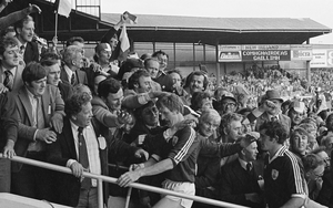 SPECIAL DAY: Noel Lane (left) and Steve Mahon of Galway makes his way up the steps of the Hogan Stand after the 1980 All-Ireland hurling final win over Limerick at Croke Park. Photo by Ray McManus/Sportsfile