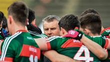 Mayo manager Stephen Rochford addresses his players before the start of Sunday's defeat to Cavan at Elverys MacHale Park in Castlebar. Photo: Sportsfile