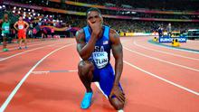 USA's Justin Gatlin after winning the Men's 100m Final during day two of the 2017 IAAF World Championships at the London Stadium