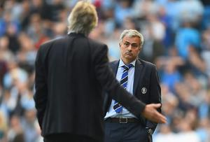 Chelsea manager Jose Mourinho was at loggerheads with his Manchester City counterpart Manuel Pellegrini during and after their sides' clash at Etihad Stadium. Photo: Laurence Griffiths/Getty Images