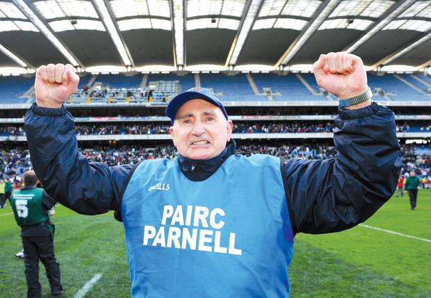 17 March 2008; St Vincent's manager Mickey Whelan celebrates victory. AIB All-Ireland Club Football Final - St Vincent's v Nemo Rangers, Croke Park, Dublin. Picture credit; Ray McManus / SPORTSFILE