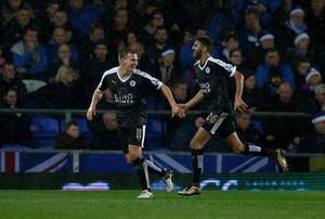 Leicester City's Riyad Mahrez celebrates his second goal at Goodison Park.