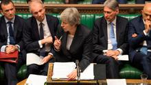 British Prime Minister Theresa May addresses the floor during Prime Minister's Questions in the House of Commons, London. Photo: UK Parliament/Mark Duffy/PA