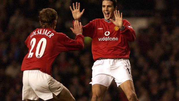 John O'Shea and Ole Gunnar Solskjaer of Manchester United celebrate during the FA Barclaycard Premiership match between Manchester United and Derby County. Photo Credit: Stu Forster/ALLSPORT