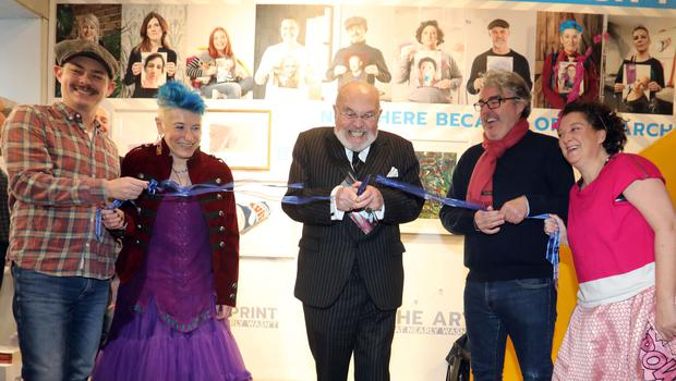 Peter Donnelly, Nicola Pierce, David Norris, Stephen Bradley and Sarah McGahon open the shop. Photo: Collins Photo Agency