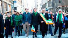 Taoiseach Leo Varadkar (centre) walks in the St Patrick's Day parade in New York City alongside his partner Matt Barrett (centre left), New York Governor Andrew Cuomo (centre right) and Congressman Peter King (right) in 2018 Photo Credit: Niall Carson/PA Wire