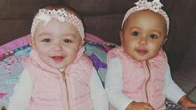 Nine-month-old Kalani (left) and her twin sister Jarani (right) are biracial twins. Photo: Whitney Meyer/Facebook