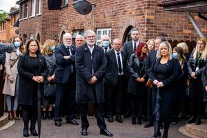 (left to right) Sinn Fein leader Mary Lou McDonald, former Sinn Fein leader Gerry Adams, and Deputy First Minister Michelle O'Neill attending the funeral of senior Irish Republican and former leading IRA figure Bobby Storey in west Belfast.  Photo: Liam McBurney/PA Wire