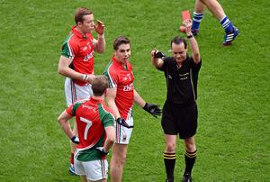 Lee Keegan is shown a red card during Mayo's clash with Kerry
