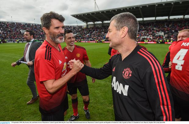 25 September 2018; Roy Keane, left, and Denis Irwin of Manchester United Legends following the Liam Miller Memorial match between Manchester United Legends and Republic of Ireland & Celtic Legends at Páirc Uí Chaoimh in Cork. Photo by Stephen McCarthy/Sportsfile