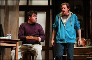 Laurence Kinlan (left) as Doc and Adrian Dunbar as Tommy in 'The Night Alive' at the Gaiety Theatre on the opening night of Dublin Theatre Festival