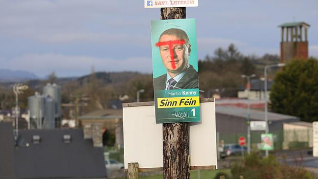 A defaced poster belonging to Sinn Féin TD Martin Kenny. Photo: Lorraine Teevan