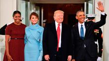 US President Barack Obama(R) and First Lady Michelle Obama(L) welcome Preisdent-elect Donald Trump(2nd-R) and his wife Melania to the White House
