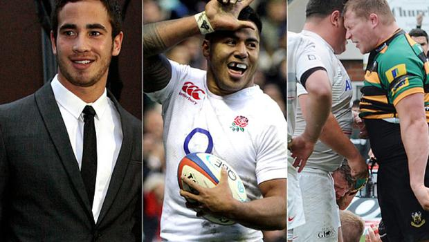 Danny Cipriani (left), Manu Tuilagi (centre) and Dylan Hartley have all been guilty of breaches of discipline ahead of the Rugby World Cup