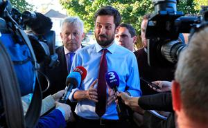 Minister for Housing, Planning and Local Government Eoghan Murphy pictured during a visit to Stameen Estate, Drogheda, which has been struck by water shortages. Photo: Collins