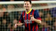 Lionel Messi has signed a new contract with Barcelona with whom he will attempt to win another La Liga title tonight. Photo: REUTERS/Gustau Nacarino