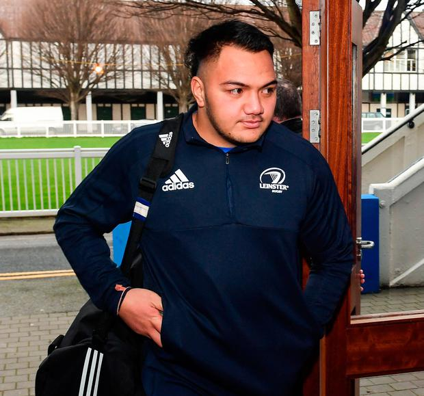 Rugby Leinster's Roman Salanoa arrives prior to the Guinness Pro14 Round 10 match against Connacht at the RDS Arena in Dublin. Photo: Sam Barnes/Sportsfile