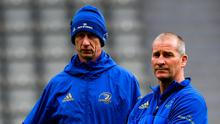 BLOW: Leinster head coach Leo Cullen (left) and senior coach Stuart Lancaster. Photo: Ramsey Cardy/Sportsfile