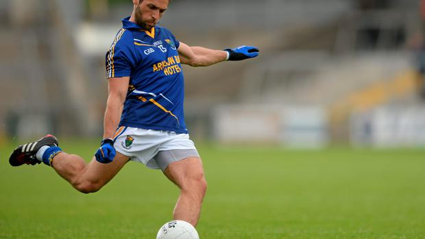 27 June 2015; Paul Cronin, Wicklow, takes a free. GAA Football All-Ireland Senior Championship, Round 1B, Armagh v Wicklow. Athletic Grounds, Armagh. Picture credit: Piaras Ó Mídheach / SPORTSFILE