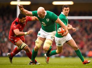 Ireland's Paul O'Connell gets away from Wales' Taulupe Faletau during the RBS 6 Nations match at the Millennium Stadium