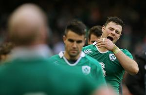 Ireland's Robbie Henshaw looks dejected at full time Action Images via Reuters / Paul Childs