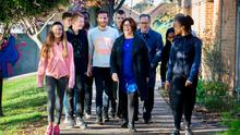 Members of the student Council at Mount Temple school walk with deputy principal Mary Byrne and principal Liam Wedimont. From left: Grace Dunne, Lucas Peat, Joe Morley, Ogo Onafuwa, Fred Mosley, Evan Farrell, Kimberly O'Dor and Karen Mukasa. Photo: Tony Gavin