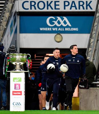 Dublin captain Stephen Cluxton leads his side out ahead of the GAA Football All-Ireland Senior Championship Final match between Dublin and Mayo at Croke Park in Dublin. Photo by Seb Daly/Sportsfile