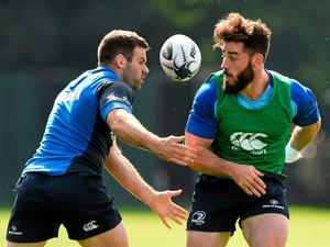 Leinster's Mick McGrath is tackled by Fergus McFadden during training ahead of their Guinness Pro12 with Scarlets tomorrow. Picture credit: Stephen McCarthy / SPORTSFILE