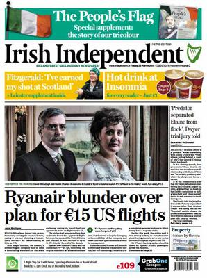 This morning's front page of the Irish Independent