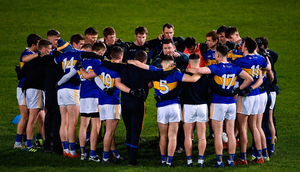 Tipperary manager David Power talks to his players before this year's NFL game against Cork in Thurles. Photo: Piaras Ó Mídheach/Sportsfile