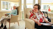 Mary Hackett and Anne McGarahan have a socially distanced catch up at Bramleigh Lodge Nursing Home, Cahir.  Picture; Gerry Mooney