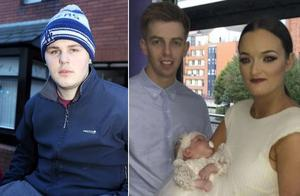 Hero Mark Furlong (left) and Baby Mila Murphy with her parents Derek Healy and Charlene Murphy (right)
