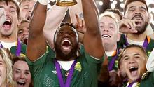 South Africa's Siya Kolisi celebrates with the Webb Ellis trophy after winning the Rugby World Cup Final in Yookohama, Japan last November