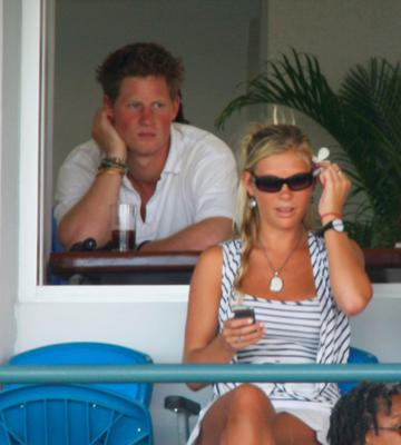 Prince Harry (L) and Chelsy Davy look on during the ICC Cricket World Cup Super Eights match between England and Bangladesh at the Kensington Oval on April 11, 2007