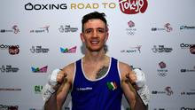 Brendan Irvine of Ireland following victory in the Men's Flyweight 52KG Preliminary round bout against Istvan Szaka of Hungary on Day Three of the Road to Tokyo European Boxing Olympic Qualifying Event at Copper Box Arena in Queen Elizabeth Olympic Park, London, England. Photo: Harry Murphy/Sportsfile