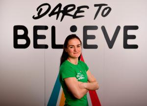 World champion boxer Kellie Harrington at yesterday's launch of Dare To Believe, a schools activation programme initiated by the Olympic Federation of Ireland that aims to inspire and increase youth participation in sports. Photo: Seb Daly/Sportsfile