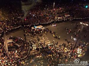 Photos posted on Chinese social media sites show emergency services at the aftermath of the stampede in the city centre