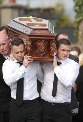 The coffin is carried to St Josephs Church in Rathnew for the funeral of Anne Shortall. Picture credit; Damien Eagers