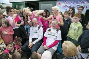 Chris White Principal with Darragh Mc Gonigle  Vice Principal of Balscadden National School  during the Head Shave event in aid of the Molly Mc Nally Miracle Trust Fundraiser event