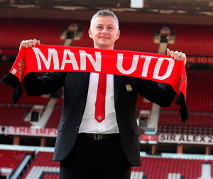 Ole Gunnar Solskjaer is pictured at Old Trafford yesterday after being unveiled as Manchester United's permanent manager on a three-year deal