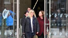 28/02/20 Victims sisters Rita Slevin,Valerie Slevin and Anne OSullivan pictured leaving the trial of Patricia OConner Dublin Central Criminal Court this afternoon... Pic Collins Courts