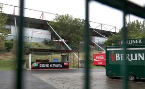 An exterior view of the 1.FC Union Berlin Stadium. The Bundesliga match between Union Berlin and Bayern Munich after the break due to the coronavirus will take place there on Sunday. (AP Photo/Michael Sohn)