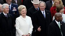 Former President Bill Clinton (L), former Democratic presidential nominee Hillary Clinton and former President George W. Bush stand  on the West Front of the U.S. Capitol on January 20, 2017 in Washington, DC. In today's inauguration ceremony Donald J. Trump becomes the 45th president of the United States.  (Photo by Joe Raedle/Getty Images)
