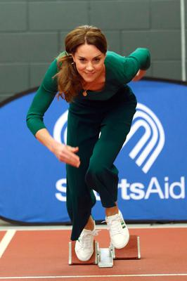 On your marks: The Duchess of Cambridge exits the starting blocks during a SportsAid event at the London Stadium in Stratford, London. Photo: Yui Mok/PA Wire