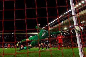 Burnley goalkeeper Thomas Heaton is unable to stop Liverpool's Daniel Sturridge making it 2-0 at Anfield