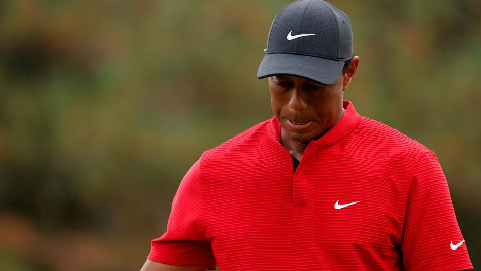 Tiger Woods reacts at the Masters