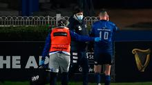 Jonathan Sexton of Leinster leaves the pitch for a head injury assessment during the Guinness PRO14 match against Connacht last weekend