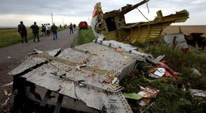 Wreckage of Malaysia MH17 at the crash site in Ukraine