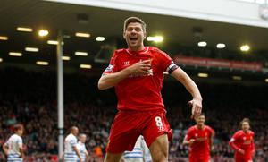 Liverpool's Steven Gerrard celebrates scoring their second goal Action Images via Reuters / Carl Recine